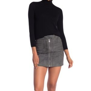 ALL SAINTS Willow Grey Suede Zip Front Mini Skirt